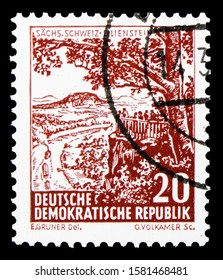 MOSCOW, RUSSIA - OCTOBER 1, 2019: Postage stamp printed in Germany, Democratic Republic, shows Saxonian Switzerland, Lilienstein, Landscapes and historic buildings serie, circa 1961