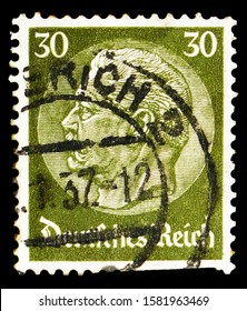 MOSCOW, RUSSIA - OCTOBER 1, 2019: Postage stamp printed in German Realm shows Paul von Hindenburg (1847-1934), 2nd President,  serie, circa 1934