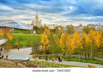MOSCOW, RUSSIA - OCTOBER 10, 2017: Kotelnicheskaya embankment building and Zaryadye Park is an urban park located near Red Square in Moscow, Russia. Park was inaugurated on 9 September 2017.