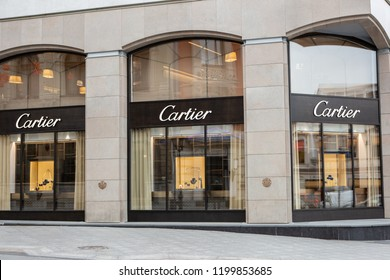 Moscow, Russia - October 10, 2018: Fashion Week Cartier shopping. Luxury store Cartier in Moscow.