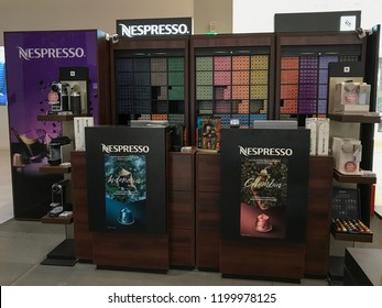 MOSCOW, RUSSIA - OCTOBER 10, 2018: Nespresso Store in Moscow, Russia. Nespresso Machines Brew Espresso and Coffee from Coffee Capsules or Pods in Machines for Home or Professional Use.