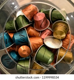 MOSCOW, RUSSIA - OCTOBER 10, 2018: Limited Collection Nespresso Master Origin Coffee Capsules Top View. Nespresso is Worldwide Company of Coffee Products.