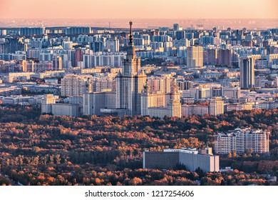 Moscow, Russia - October 10, 2018: Lomonosov Moscow State University at autumn sunset time. It was founded in 1755 by Mikhail Lomonosov. Russia.