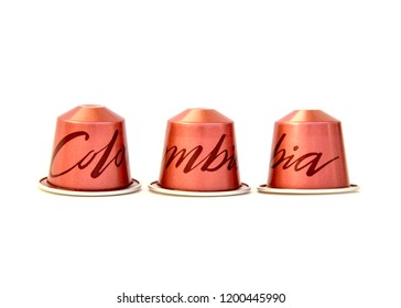 MOSCOW,  RUSSIA - OCTOBER 11, 2018: Limited Collection Nespresso Master Origin Coffee Capsules on White Background. Coffee Blend Colombia. Nespresso is Worldwide Company of Coffee Products.