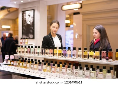 Moscow, Russia - October 12, 2018: People are shopping in Dior boutique. Luxury store Dior in Moscow.