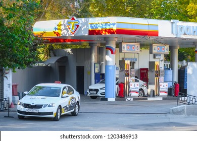 Moscow, Russia - October, 12, 2018: petrol station in Moscow