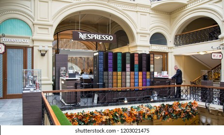 MOSCOW, RUSSIA - OCTOBER 13, 2018: Nespresso Store inside Historical Gum Department Store in Moscow, Russia. Nespresso Machines Brew Espresso and Coffee from Coffee Capsules or Pods in Machines for Ho