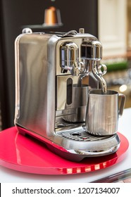 MOSCOW, RUSSIA - OCTOBER 13, 2018: Coffee Machine Nespresso Creatista Plus by Bork in Nespresso Store in Moscow, Russia.