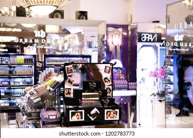 Moscow, Russia - October 14, 2018: Fashion Week Urban Decay shopping. Luxury store Urban decay in Moscow.