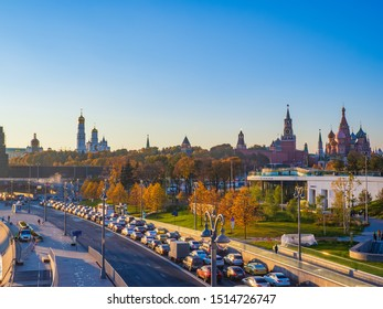 MOSCOW, RUSSIA - OCTOBER 15, 2018: Beautiful views of Moscow from Zaryadye landscape park viewing bridge on a sunny autumn evening.