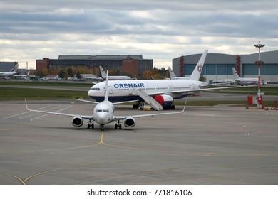 Moscow, Russia - October 16, 2017: Utair Airlines aircraft at Vnukovo International Airport (VKO).