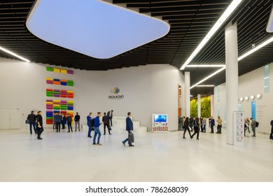 Moscow, Russia - October 16, 2017: People attend Skolkovo Campus. Skolkovo Innovation Center is a high technology business area that is being built at Skolkovo near Moscow, Russia