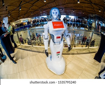 MOSCOW, RUSSIA - OCTOBER 16, 2019: Robot KIKI designed by SolidWorks CAD system at SolidWorks Summit Russia conference in Digital Business Space congress center in Moscow, Russia on October 16, 2019.