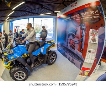MOSCOW, RUSSIA - OCTOBER 16, 2019: Russian Mechanics all-terrain vehicle RM 800 designed on CAD system SolidWorks demonstrated at SolidWorks Summit Russia in Moscow, Russia on October 16, 2019.