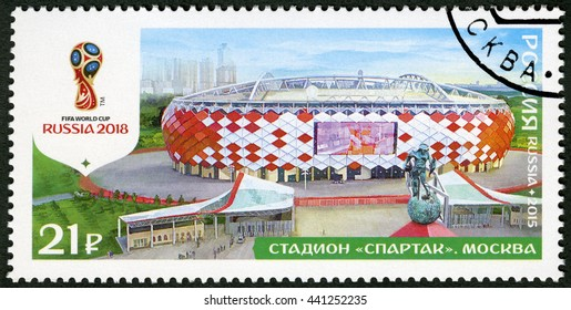 MOSCOW, RUSSIA - OCTOBER 17, 2015: A stamp printed in Russia shows Spartak Stadium, Moscow, series Stadiums, 2018 Football World Cup Russia