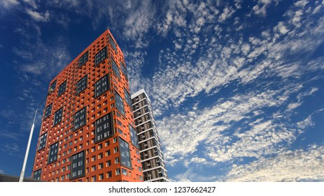 MOSCOW, RUSSIA – OCTOBER 17, 2018: Multi-storey building under construction (new residential complex) against the sky, Moscow, Russia