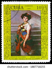 MOSCOW, RUSSIA - OCTOBER 17, 2020: Postage stamp printed in Cuba shows Elena Herrera,by Armando Menocal, 170 years of Academy of Art San Alejandro in Havana serie, circa 1988
