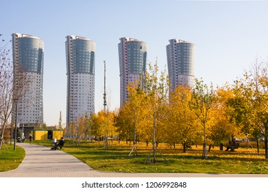 """Moscow, Russia - October 18, 2018: New city landscape park """"Khodynskoe field"""" and modern skyscrapers, Moscow, Russia. It opened in september of 2018. Total area of park is about 25 hectares"""