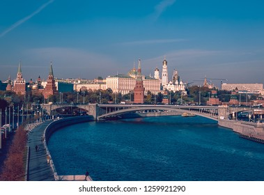 MOSCOW, RUSSIA - OCTOBER 18, 2018: Moscow skyline: Moskva River , Kremlin and the nearby goverment and other buildings in a daylight