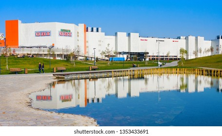 """Moscow, Russia - October 18, 2018: Mall """"Avia Park"""", modern residential building and new park Khodynskoe field in Moscow, Russia. It is largest megamoll in Europe"""