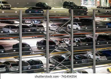Moscow, Russia - October 19, 2017: multi-level Parking in Moscow, area Mitino. night. autumn.