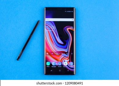 Moscow, Russia - October 19, 2018: Samsung SM-N960F Galaxy Note 9 Black.