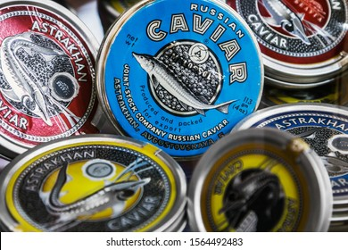 Moscow, Russia - October 19, 2019: caviar of different varieties in tin cans. the common name of sturgeon ROE. Traditional black caviar is given by sturgeon, Beluga, sturgeon and thorn