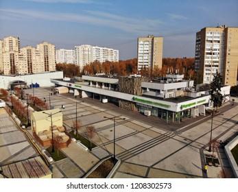 Moscow, Russia - October 20. 2018. Flight over Ploshchad Yunosti in Zelenograd