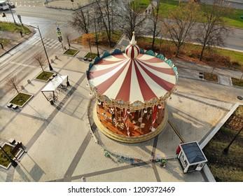 Moscow, Russia - October 20. 2018. Carousel on Ploshchad Yunosti in Zelenograd