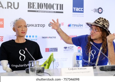 Moscow, Russia - October, 2017: Sophia humanoid robot and Dr. Ben Goertzel, CEO of SingularityNET at Open Innovations Conference at Skolokovo technopark