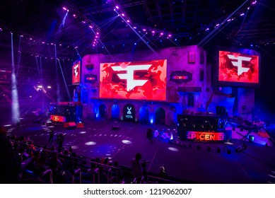 MOSCOW, RUSSIA - OCTOBER 2018: Counter Strike: Global Offensive esports event. Main stage with a big screen and team FAZE clan logo.