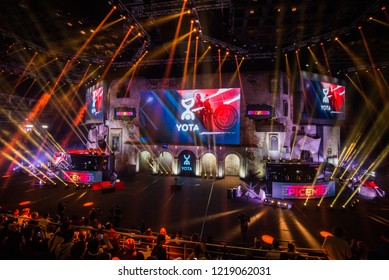 MOSCOW, RUSSIA - OCTOBER 2018: Counter Strike: Global Offensive esports event. Main stage venue, big screen and lights before the start of the tournament.