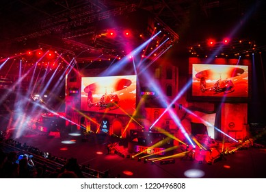 MOSCOW, RUSSIA - OCTOBER 2018: Counter Strike: Global Offensive esports event. Main stage venue, big screen and lights illumination before the start of the tournament.