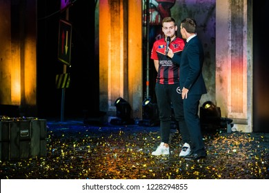 MOSCOW, RUSSIA - OCTOBER 2018: Counter Strike: Global Offensive esports event. The winners of the tournament team FAZE clan on a stage giving an interview after thier win.