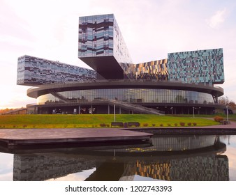 Moscow, Russia - October, 2018: The Moscow School of Management SKOLKOVO. It was founded in 2006 by members of the business community