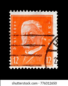 MOSCOW, RUSSIA - OCTOBER 21, 2017: A stamp printed in Germany (Deutsches Reich) shows Paul von Hindenburg (1847-1934), Presidents of Germany serie, circa 1932