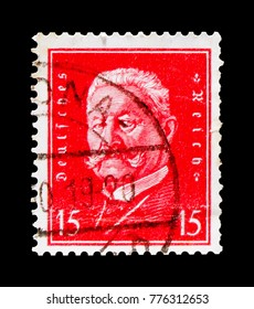 MOSCOW, RUSSIA - OCTOBER 21, 2017: A stamp printed in Germany (Deutsches Reich) shows Paul von Hindenburg (1847-1934), Presidents of Germany serie, circa 1928
