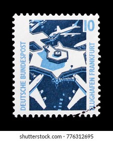 MOSCOW, RUSSIA - OCTOBER 21, 2017: A stamp printed in German Federal republic shows Frankfurt Airport, Sights serie, circa 1988