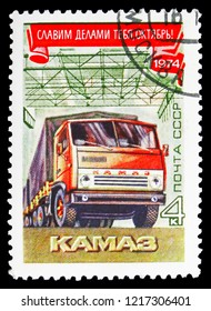 MOSCOW, RUSSIA - OCTOBER 21, 2018: A stamp printed in USSR (Russia) shows Kamaz, October revolution serie, circa 1974