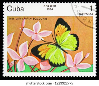 MOSCOW, RUSSIA - OCTOBER 21, 2018: A stamp printed in Cuba shows White Butterfly (Ixias balice balice), Butterflies serie, circa 1984