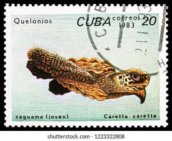 MOSCOW, RUSSIA - OCTOBER 21, 2018: A stamp printed in Cuba shows Loggerhead (Caretta caretta), Turtles serie, circa 1983