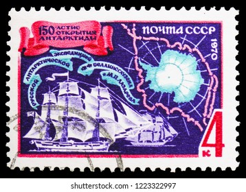 "MOSCOW, RUSSIA - OCTOBER 21, 2018: A stamp printed in USSR (Russia) shows ""Vostok"" and ""Mirny"" vessels,150th Anniversary of Bellinsgauzen and Lazarev's Antarctic Expedition serie, circa 1970"