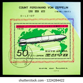MOSCOW, RUSSIA - OCTOBER 21, 2018: A stamp printed in Korea shows Graf Zeppelin, Zeppelins serie, circa 1979
