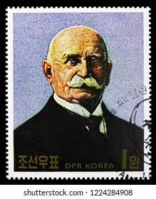 MOSCOW, RUSSIA - OCTOBER 21, 2018: A stamp printed in Korea shows Zeppelin, 150th birthday of Ferdinand Graf von Zeppelin serie, circa 1988