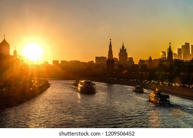 Moscow, Russia - October, 22, 2018: Moscow Kremlin at sunset