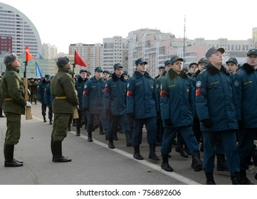 MOSCOW, RUSSIA - OCTOBER 23, 2013: Pupils of the Cadet Corps of the Ministry of Emergency Situations are preparing for the parade on November 7 in Red Square.