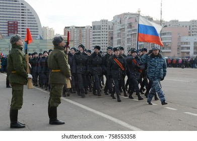 MOSCOW, RUSSIA - OCTOBER 23, 2013: Cadets of the Moscow College of Police are preparing for the parade on November 7 in Red Square.