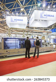 MOSCOW, RUSSIA - OCTOBER 24, 2012: Woodworking equipment of the German company HOMAG at the International exhibition LESDREVMASH