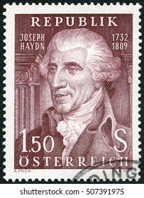 MOSCOW, RUSSIA - OCTOBER 24, 2016: A stamp printed in Austria shows Franz Joseph Haydn (1732-1809), composer, 1959.