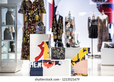 Moscow, Russia - October 24, 2018: Fashion Week Dior shopping. Luxury store Dior in Moscow.